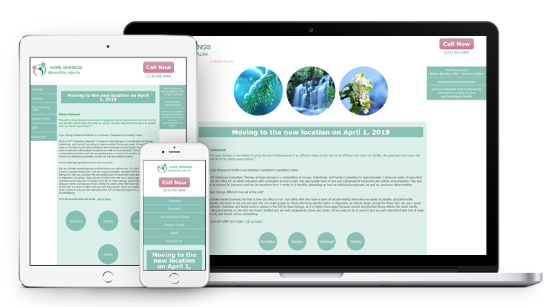 Hope Springs Behavioral Health, Inc. Web Design