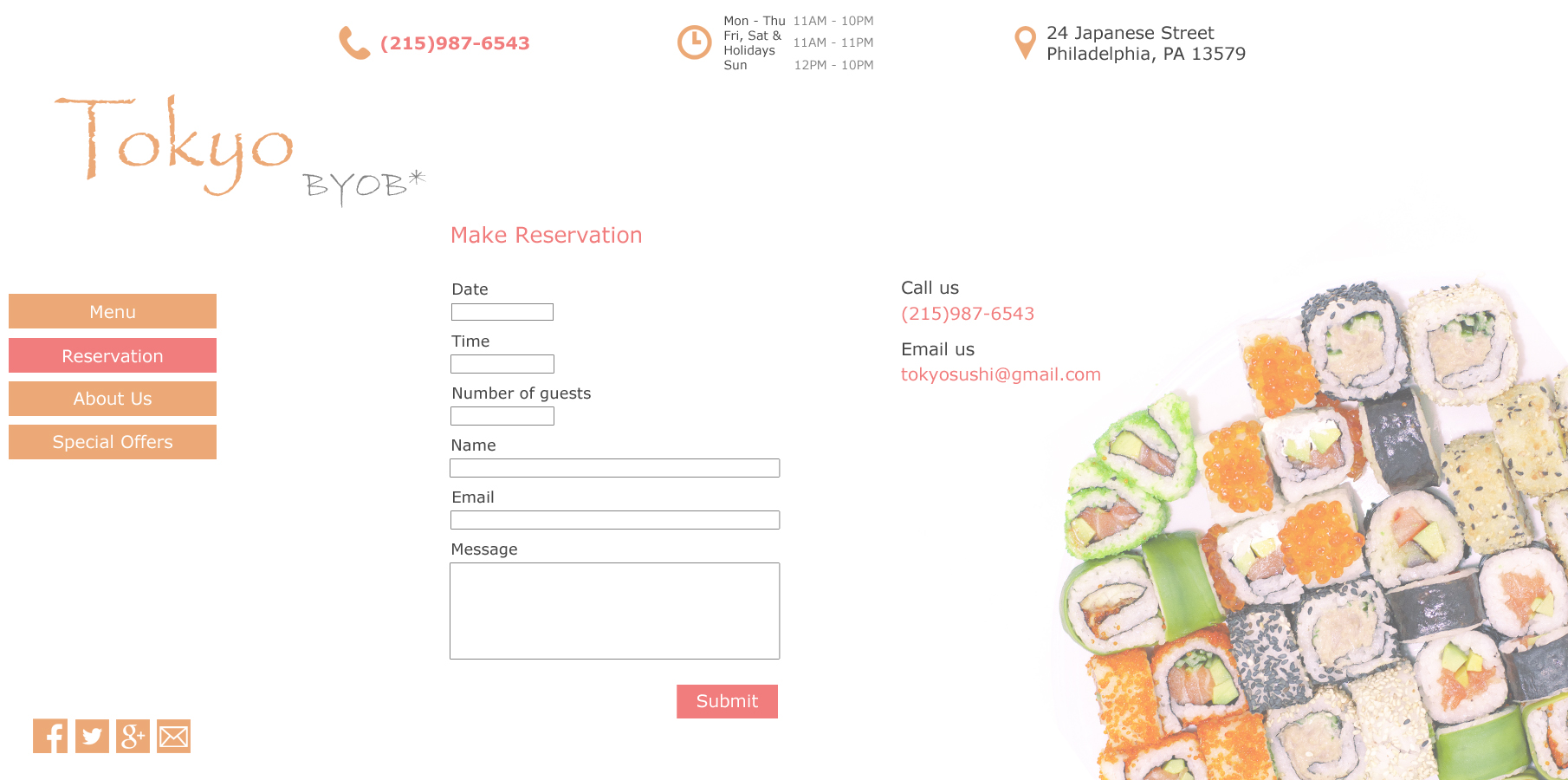 Sushi Reservation Page